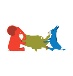 elephant and donkey divided map of america usa vector image