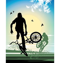 exercise extreme stunt cyclist vector image vector image