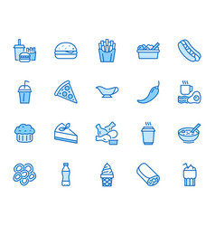 fast food flat line icons set burger combo lunch vector image