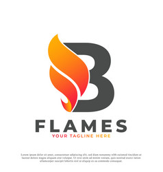 Flame with letter b logo design fire logo template vector