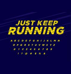 Font yellow italic vector