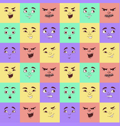Funny cartoon facial expressions seamless pattern vector