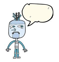 Funny cartoon robot with speech bubble vector