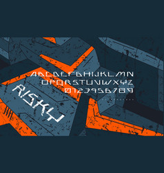 Futuristic space font and fragment spaceship vector