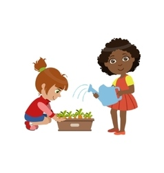 Girls Gardening Together vector