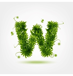 Green eco letter W for your design vector image