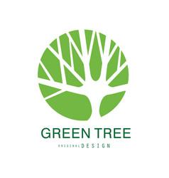 Green tree logo original design eco and bio badge vector
