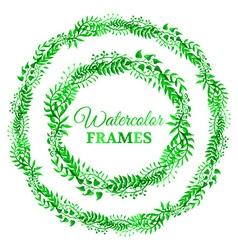 Green watercolor nature frames vector image
