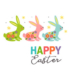 greeting card with three colorful easter bunnies vector image