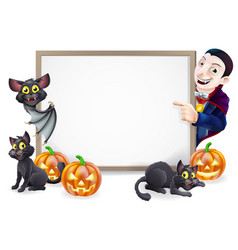 Halloween sign with dracula and vampire bat vector