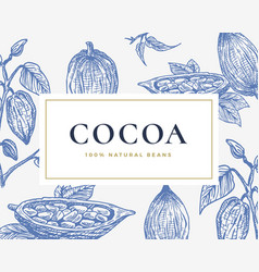 Hand drawn cocoa beans card abstract cacao vector