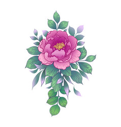 Hand drawn pink flower with green leaves vector