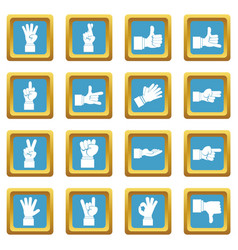 hand gesture icons azure vector image