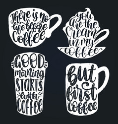 handwritten coffee phrases set coffee vector image