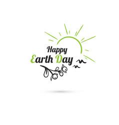 Happy earth day sun and birds vector
