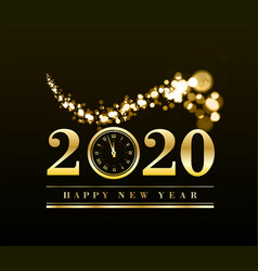 happy new year 2020 with gold particles and a vector image