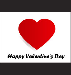 happy valentines day card - red heart on white bac vector image