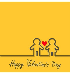 Happy Valentines Day Love card Man and Woman black vector