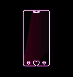 happy valentines day mobile phone pink neon vector image