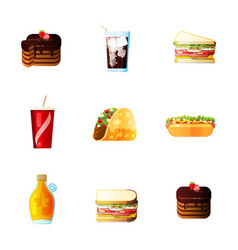 icons set lunch hot dog french fries soda vector image