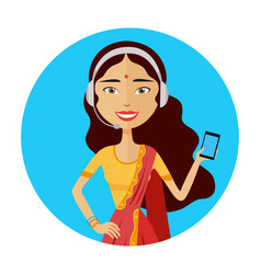 Image of smiling support phone indian female vector