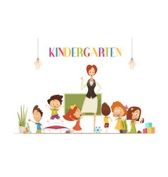 Kindergarden Teacher With Kids Cartoon vector