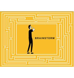 man in puzzle brainstorming vector image