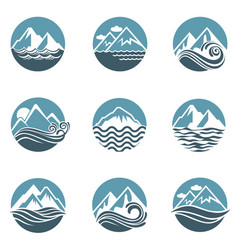 Mountain and sea icon set vector