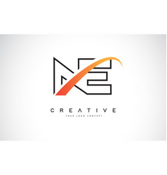 Ne n e swoosh letter logo design with modern vector