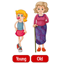 Opposite words with young and old vector