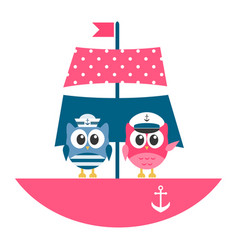 Owls sailors on the boat vector
