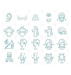 Plastic surgery icons breast augmentation vector