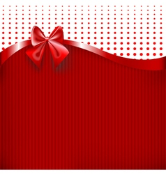 Red Ribbon and Bow on red paper texture background vector