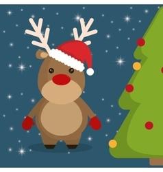 Reindeer and pine tree cartoon of chistmas design vector