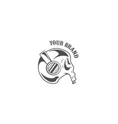 Rock skull in headphone logo design vector
