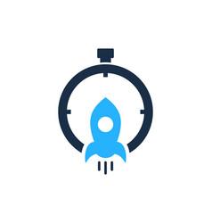 rocket time logo icon design vector image