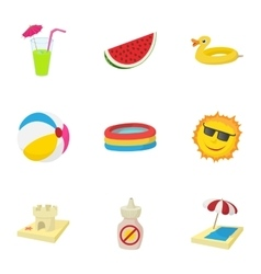 Sandy beach icons set cartoon style vector
