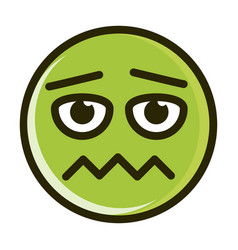 Scared funny smiley emoticon face expression line vector
