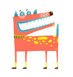 Scary funny dog standing smiling smirking vector