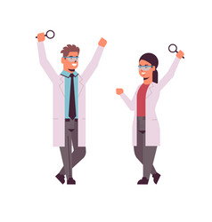 Scientists couple raising hands with magnifying vector