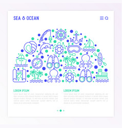 sea and ocean journey concept in half circle vector image