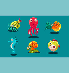 sea creatures set cute funny animals and fishes vector image