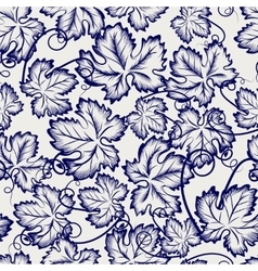 seamless pattern with sketched grapes leaves vector image