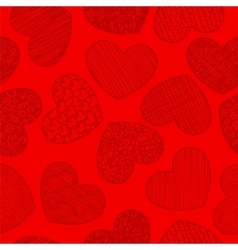 Seamless pattern with sketching hearts red vector image