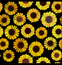 Seamless sunflowers background vector