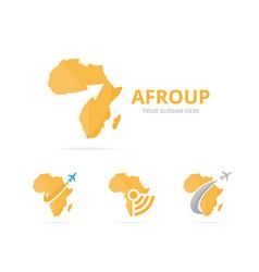 Set africa logo combination safari and growth vector