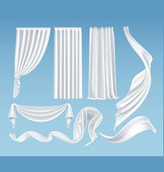 set realistic fluttering white cloths vector image