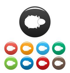 sheep air view icons set color vector image