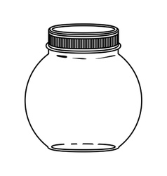 Silhouette circular glass container with lid vector