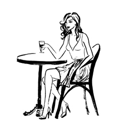 sitting woman in cafe vector image